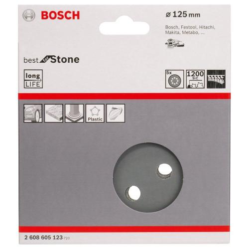 Φύλλα έκκεντρου 125mm 5τεμ. P1200 για πολυεστέρα & πέτρα BOSCH 2608605123