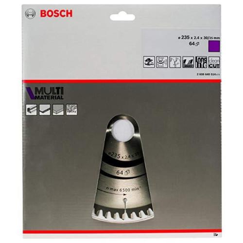 Δίσκος Multi Material 235x30 Z64 Αλουμινίου- Ξυλου Bosch 2608640514