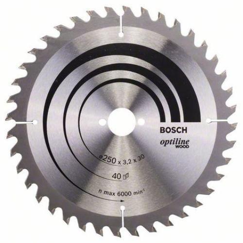 ΔΙΣΚΟΣ BOSCH ΞΥΛΟΥ 250x30mm 40Δ OPTILINE 2608640728