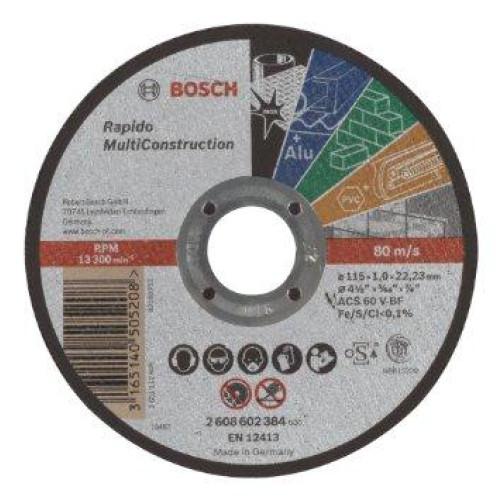 ΤΡΟΧΟΣ ΚΟΠΗΣ BOSCH 115Χ1 MULTI inox-μετ-τουβ-PVC-πλακακι 2608602384