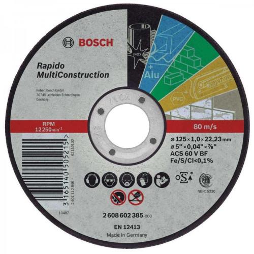 ΤΡΟΧΟΣ ΚΟΠΗΣ BOSCH 125Χ1 MULTI inox-μετ-τουβ-PVC-πλακακι 2608602385
