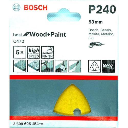 Φύλλα Λείανσης 93mm ξύλου Κ240 Bosch 5τεμ. 2608605154