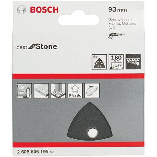 Φύλλα Λείανσης 93mm πολυεστέρα & πέτρας Κ180 Bosch 5τεμ. 2608605195