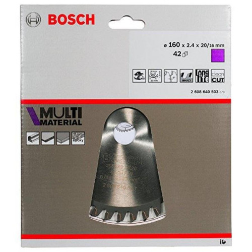 Δίσκος Multi Material 160x20/16 Z42 Αλουμινίου- Ξυλου Bosch 2608640503