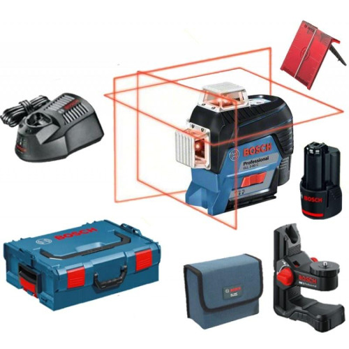 Γραμμικό Λέιζερ BOSCH GLL 3-80 C κόκκινη δέσμη με μπαταρία 12V και Ταχυφορτιστη 0601063R02