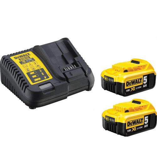 Φορτιστής 10.8V-18V LiIon με 2 μπαταρίες 18V 5.0Ah DeWalt DCB115P2