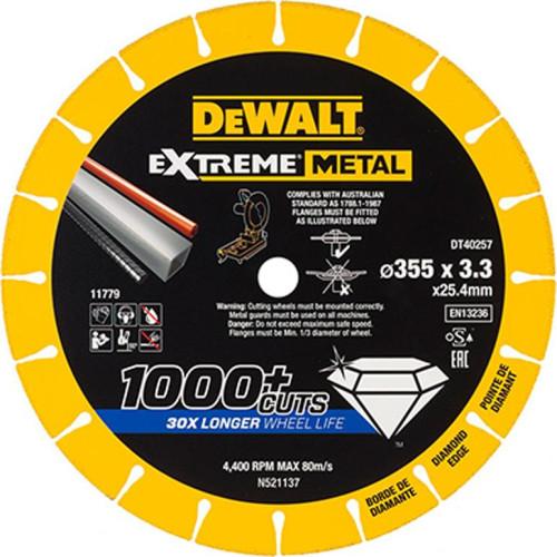 Διαμαντόδισκος Extreme Metal DT40257 355mm x 3,3mm Dewalt