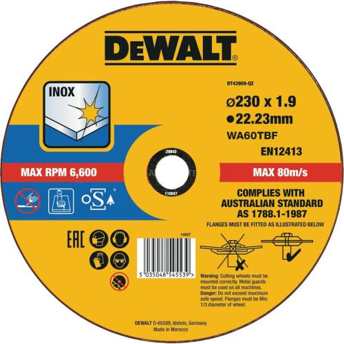 Δίσκος κοπής σιδήρου DEWALT 230Χ1.9 DT43909