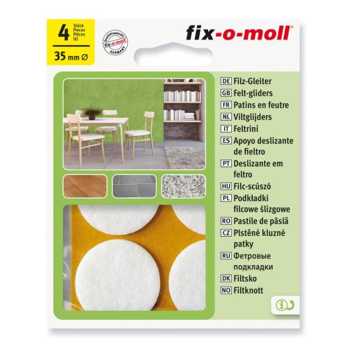 Τσοχάκια συνθετικά αυτοκόλλητα Φ35 4τεμ. λευκά FIXOMOLL 3566308